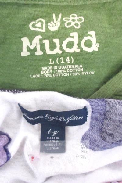 Lot of 2 Girls Junior Tops In Size Large Mudd American Eagle outfitters