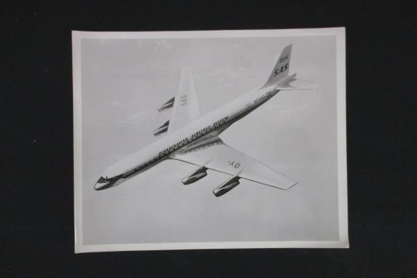 Lot of 4 Vintage B&W Photos Scandinavian Airlines System SAS Airplanes