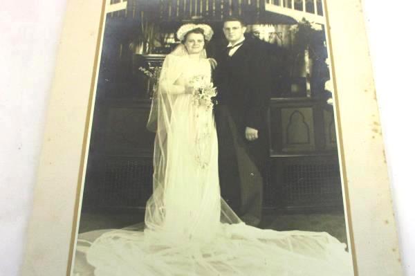 Lot Black White Photos on Cardboard Photographs Early 1900s Wedding Bride Groom