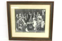 Antique Victorian Framed Family Portrait Photo Wealthy Large Family Kids Adults