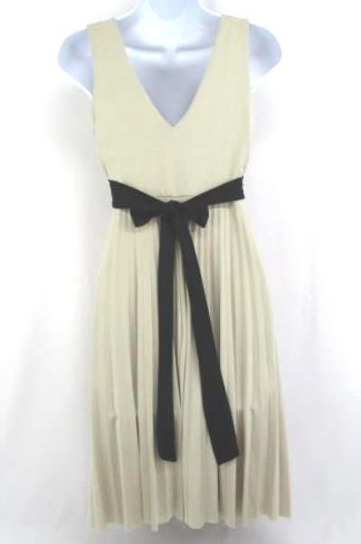 XXI Formal Dress Party Beige Blush Accordion Pleat Empire Waist Sz Medium M
