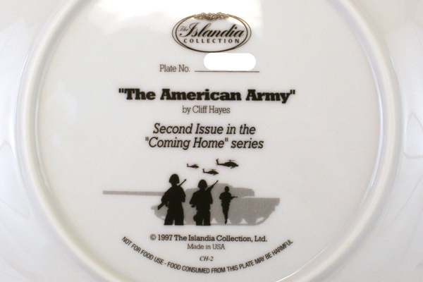 Cliff Hayes U.S. ARMY Coming Home PLATE New RETIRED