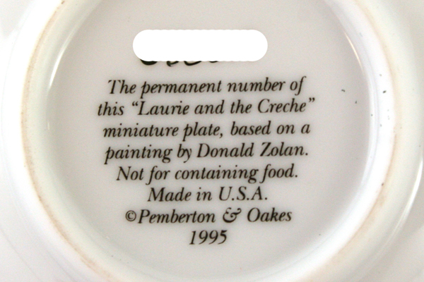 Laurie and the Creche Miniature Plate Pemberton & Oakes Donald Zolan 1995