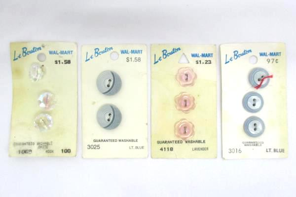 4 Packages Of  Vintage Le Bouton Buttons Assorted Colors