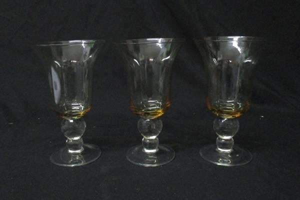 Lot of 3 Wine glasses Or Water Goblets  Amber Colored Crystal 7In Tall