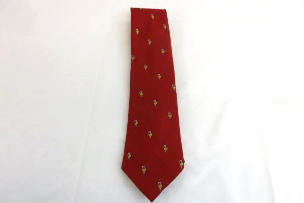 Vintage Men's Tie Necktie Red Christmas Holiday Green Striped Candy Cane w/ Bows