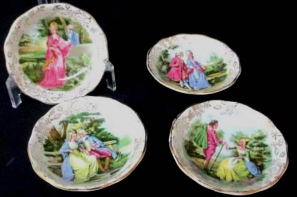4 Vintage James Kent Ltd Romance Porcelain Trinket Bowls Longton Made in England