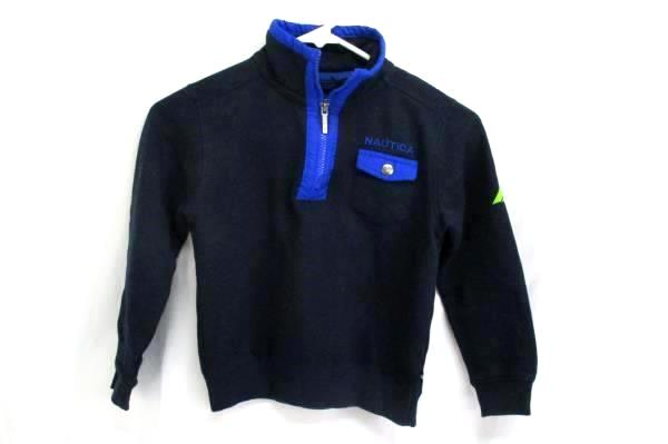 Nautica Youth Size L/G 7 Jacket 1/4 Zip Pull Over Jacket Navy Blue Long Sleeve