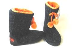 Women's Black And Orange Beavers Slipper Boots By Collegiate Size M 6.5-7.5