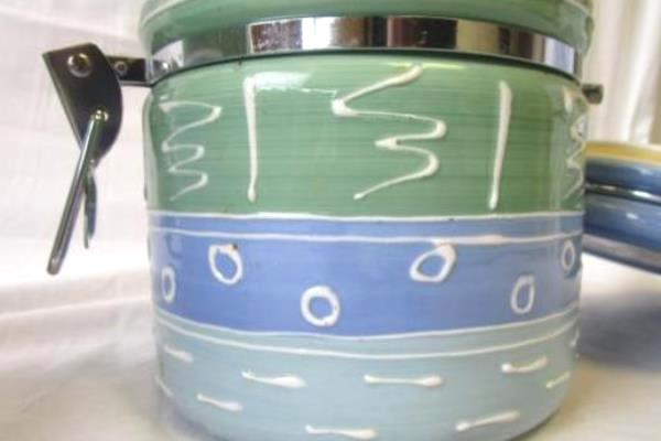 Lot of 2 Certified International Corp. Blue & Green Decorated Cookie Jars Big+Sm
