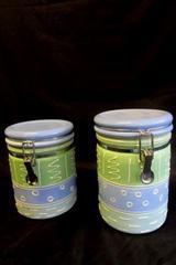 Lot of 2 Certified International Corp. Blue & Green Decorated Cookie Jars Medium