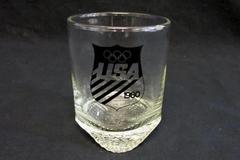Vintage Drinking Glass 1980 Winter USA Olympics Clear Low ball Old Fashioned Cup