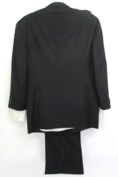 Black 100% Wool Contrast Trim Double Breasted 3 Piece Tuxedo Men's 44L (42 x 35)