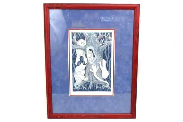 """17.5"""" Framed Matted Signed Artist Proof Drawing Print """"TREE HOUSE"""" 2009"""