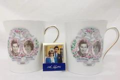 Pair of Vintage Commemorative Cups Prince Charles Diana Wedding 1981 + Matchbook