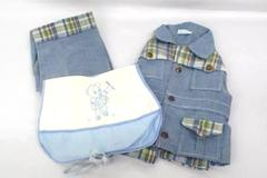 Vintage Catton Bros. Catton Candy Baby Boy Outfit 3-6 Months Blue Plaid