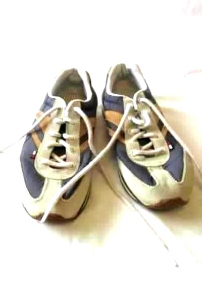 Tommy Hilfiger Women's Blue Brown Leather Man Made Upper Athletic Shoes Size 7M
