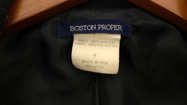 BOSTON PROPER Black Tweed Fringe Coat Women's 4 Spring Jacket Weasley Cosplay