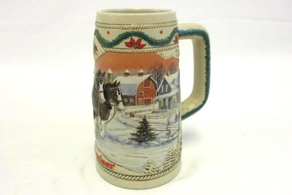 Budweiser Holiday Collector Series Beer Stein 1996 American Homestead Theme