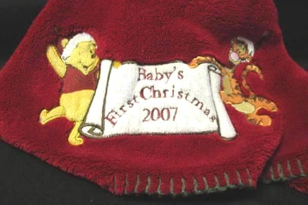Winnie the Pooh Baby First Christmas Blanket 2007 Nursery 30 x 40 in Crib Disney