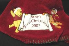Winnie the Pooh Baby First Christmas Blanket 2007 Nursery 30 x 40 in Crib Disney