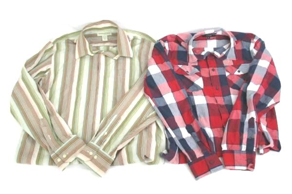 Lot of 2 Mens Button Up Shirts Size M Banana Republic Eighty Eight Long Sleeve