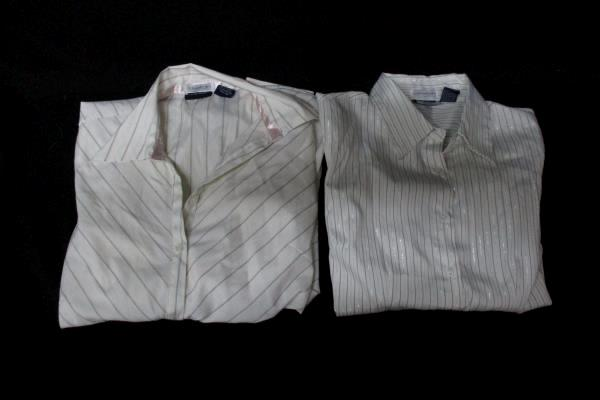Lot of 2 DCC Missy Women's Long Sleeve Shirts Stretch White Black Pink Sz Small