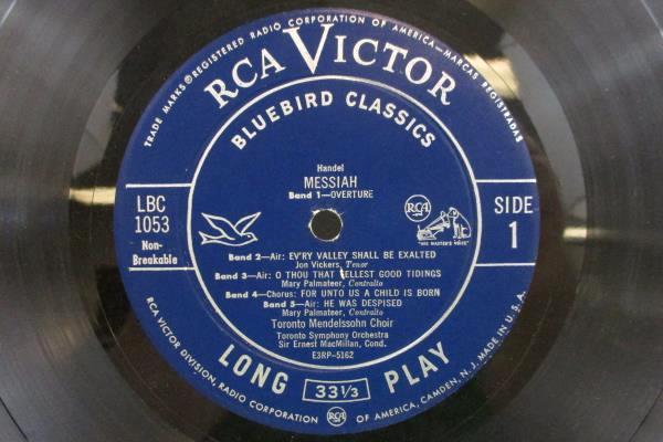 Highlights from Messiah Handel Vinyl LP RCA Victor Bluebird Classics LBC 1053