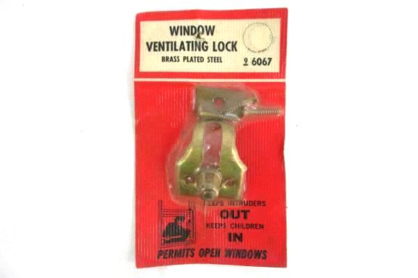 Lot of 2 Sears Roebuck Vintage Window Ventilating Lock Brass Plated Steel 6067