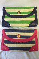 Lot of 2 Women's Mudpie Oversized Straw Clutches Striped White Lime Blue Fuchsia