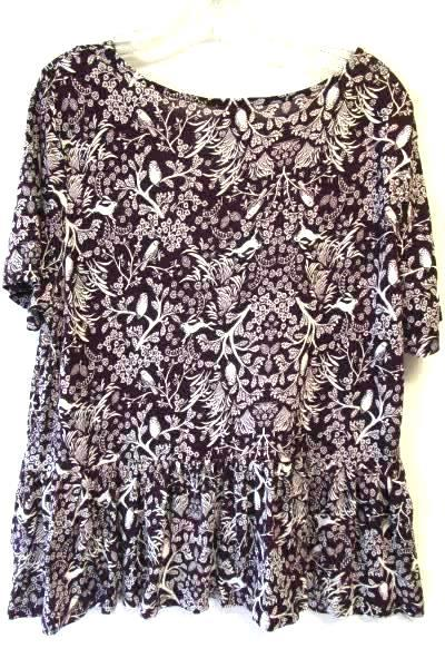 Women's Burgundy White Short Sleeve Floral Animal Print Shirt by Old Navy Size M