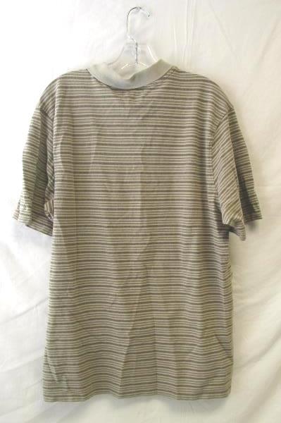 Men's Columbia Polo Shirt Beige Stripes Size Large 100% Cotton