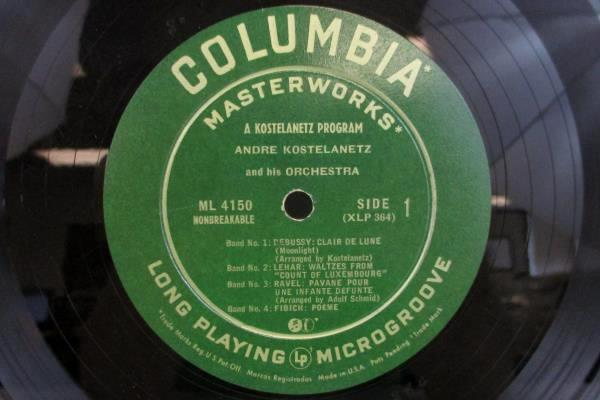 Andre Kostelanetz and his Orchestra Vinyl LP Columbia Records 1950 ML4150