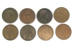 Lot Of 8 Bronze Penny Coins From Great Britain Dated 1902-1967 George Elizabeth