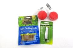 Lot of 4 Indestructible Dog Balls + Dog Whistle + Puppy Teething Treats